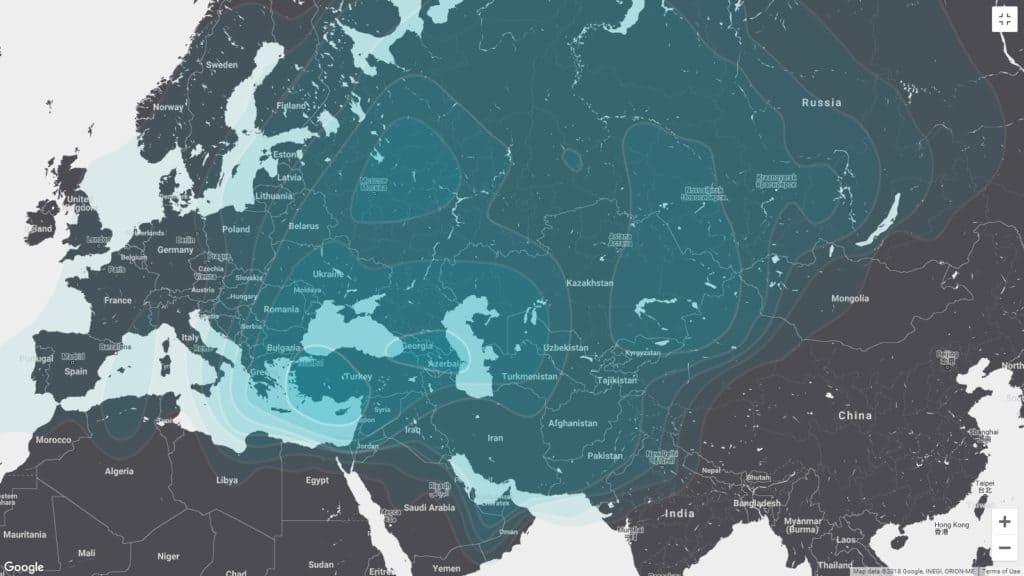 Azerspace-2 Uydusu Kapsama Alanı